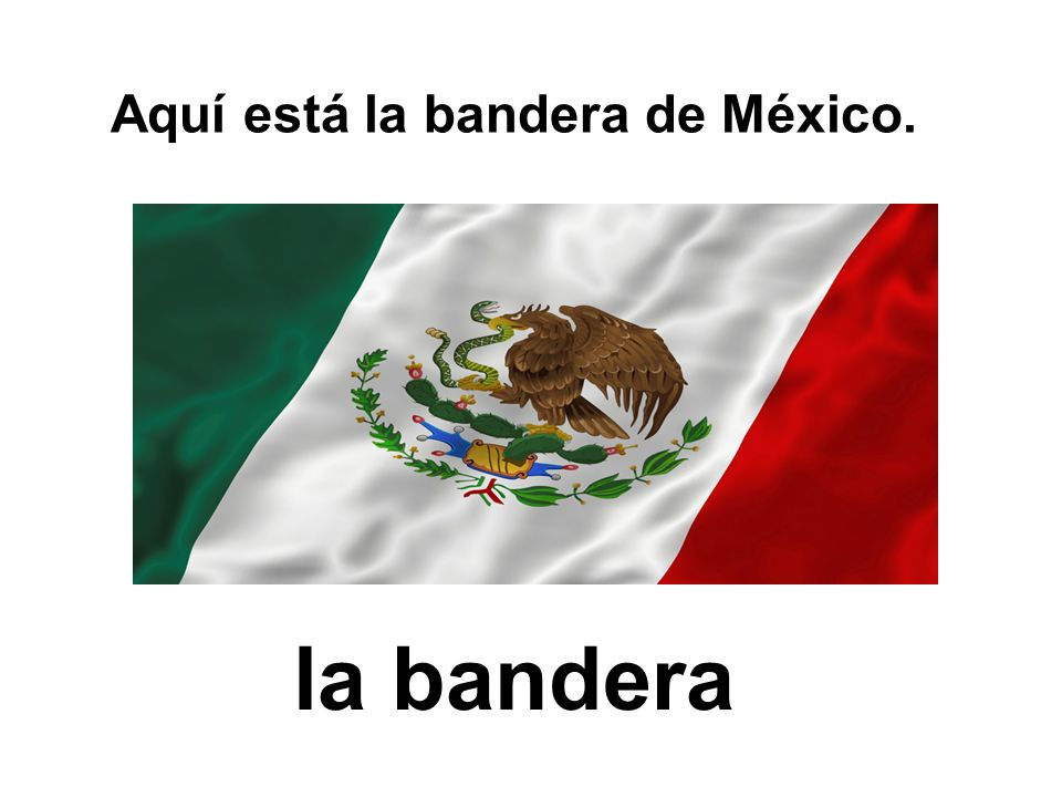 Aquí está la bandera de México.