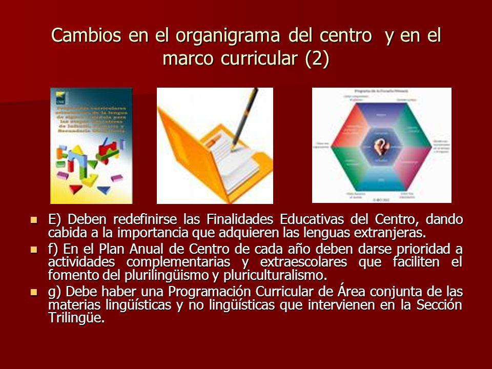 Cambios en el organigrama del centro y en el marco curricular (2)