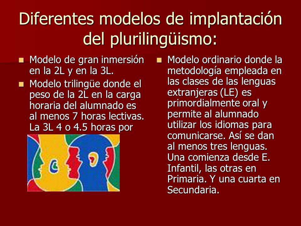 Diferentes modelos de implantación del plurilingüismo: