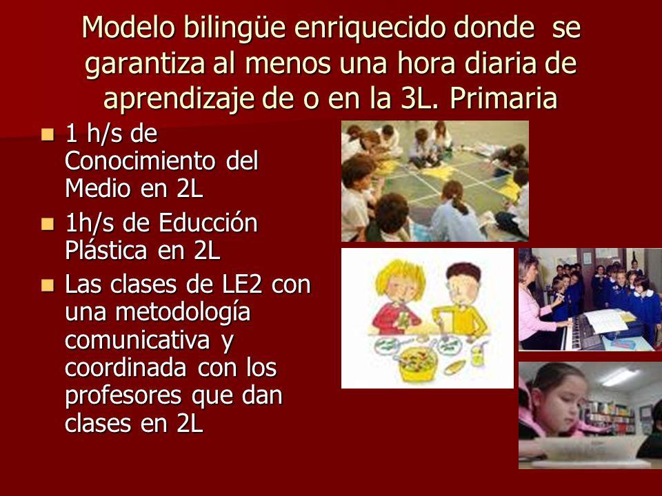 Modelo bilingüe enriquecido donde se garantiza al menos una hora diaria de aprendizaje de o en la 3L. Primaria