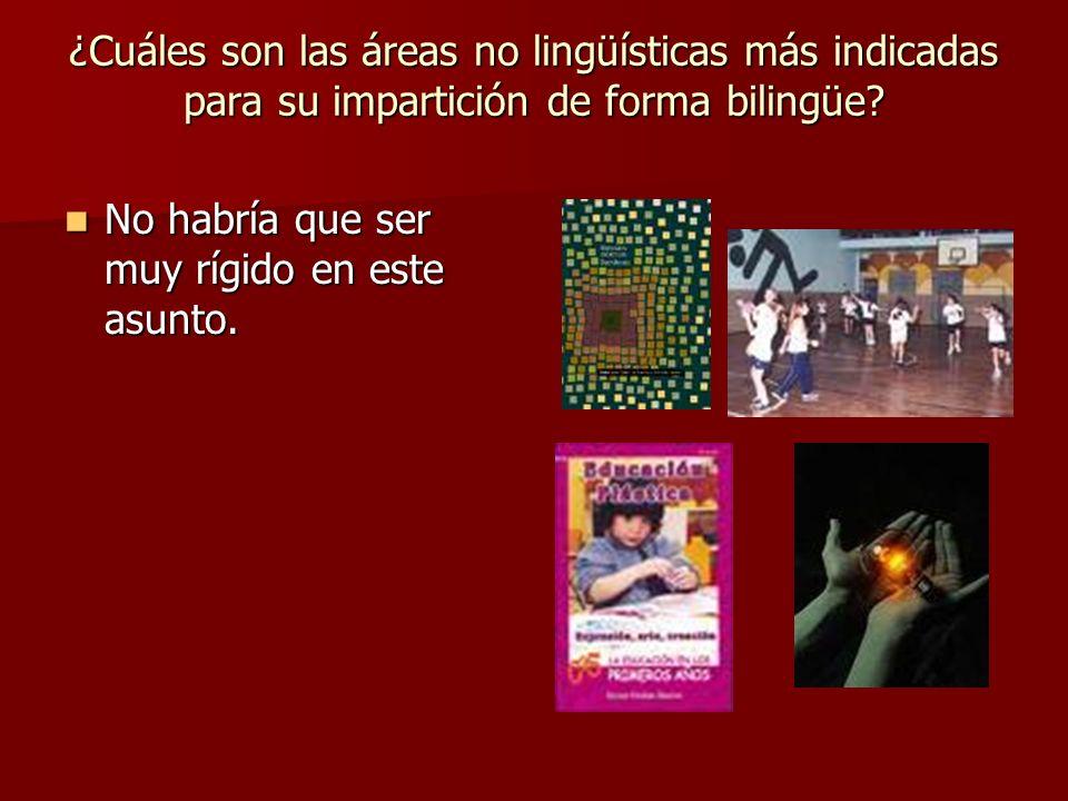 ¿Cuáles son las áreas no lingüísticas más indicadas para su impartición de forma bilingüe