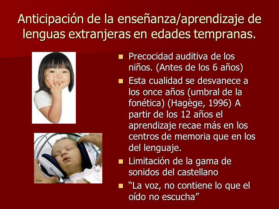 Anticipación de la enseñanza/aprendizaje de lenguas extranjeras en edades tempranas.