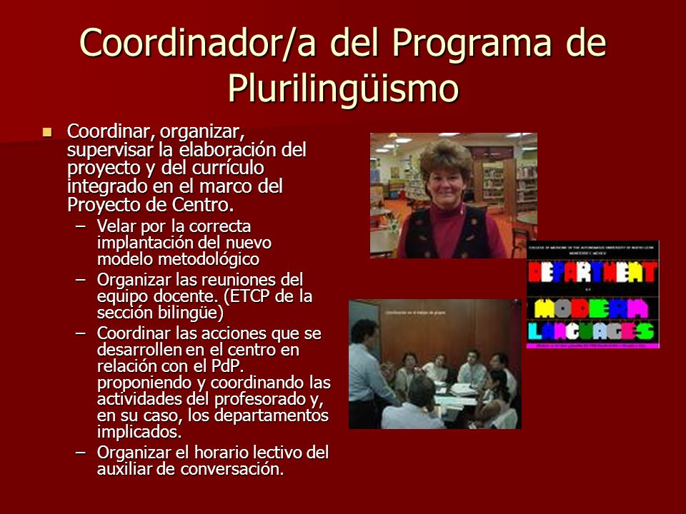 Coordinador/a del Programa de Plurilingüismo