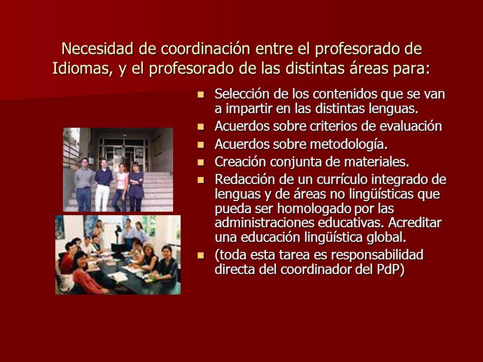 Necesidad de coordinación entre el profesorado de Idiomas, y el profesorado de las distintas áreas para: