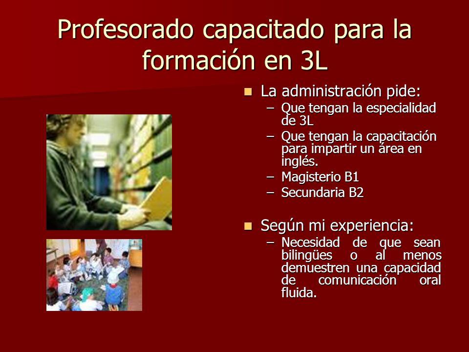Profesorado capacitado para la formación en 3L