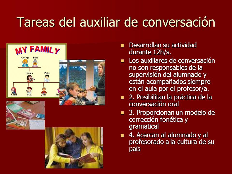 Tareas del auxiliar de conversación