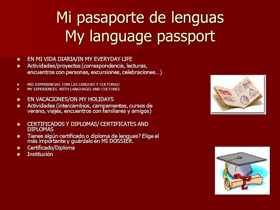 Mi pasaporte de lenguas My language passport