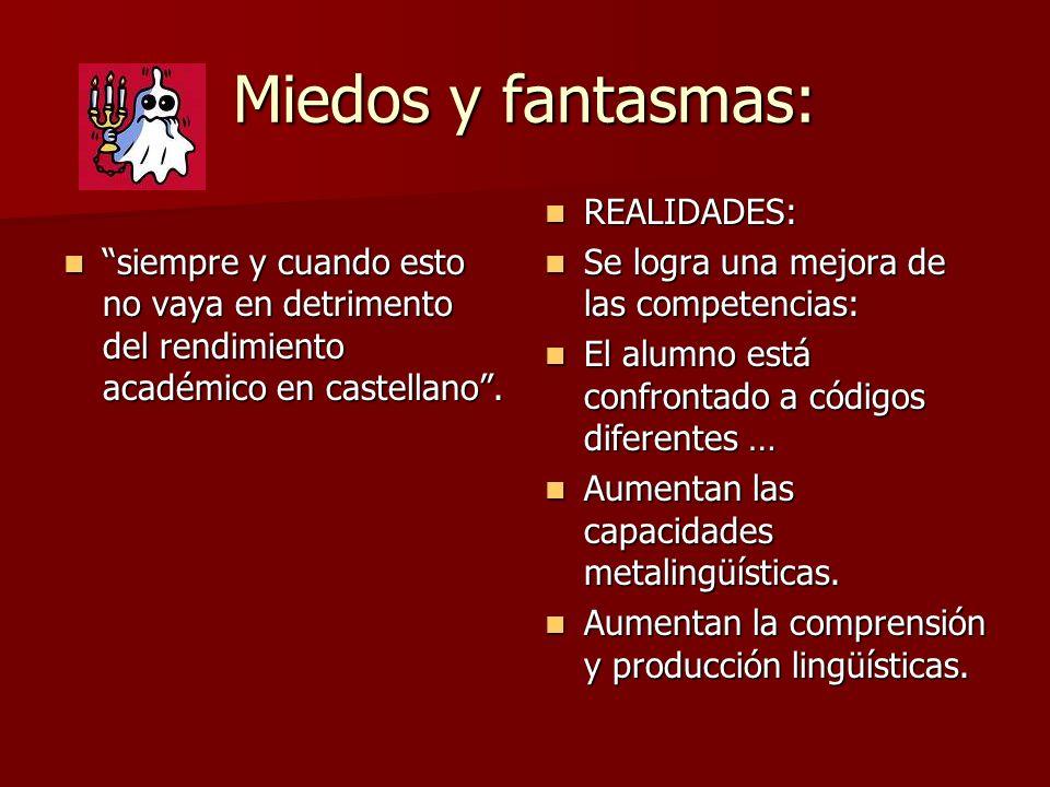 Miedos y fantasmas: siempre y cuando esto no vaya en detrimento del rendimiento académico en castellano .