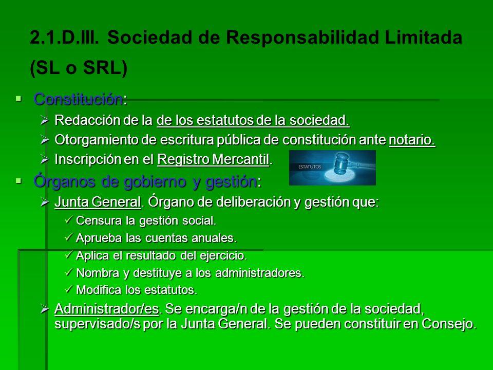 2.1.D.III. Sociedad de Responsabilidad Limitada (SL o SRL)