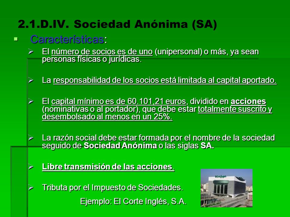 2.1.D.IV. Sociedad Anónima (SA)
