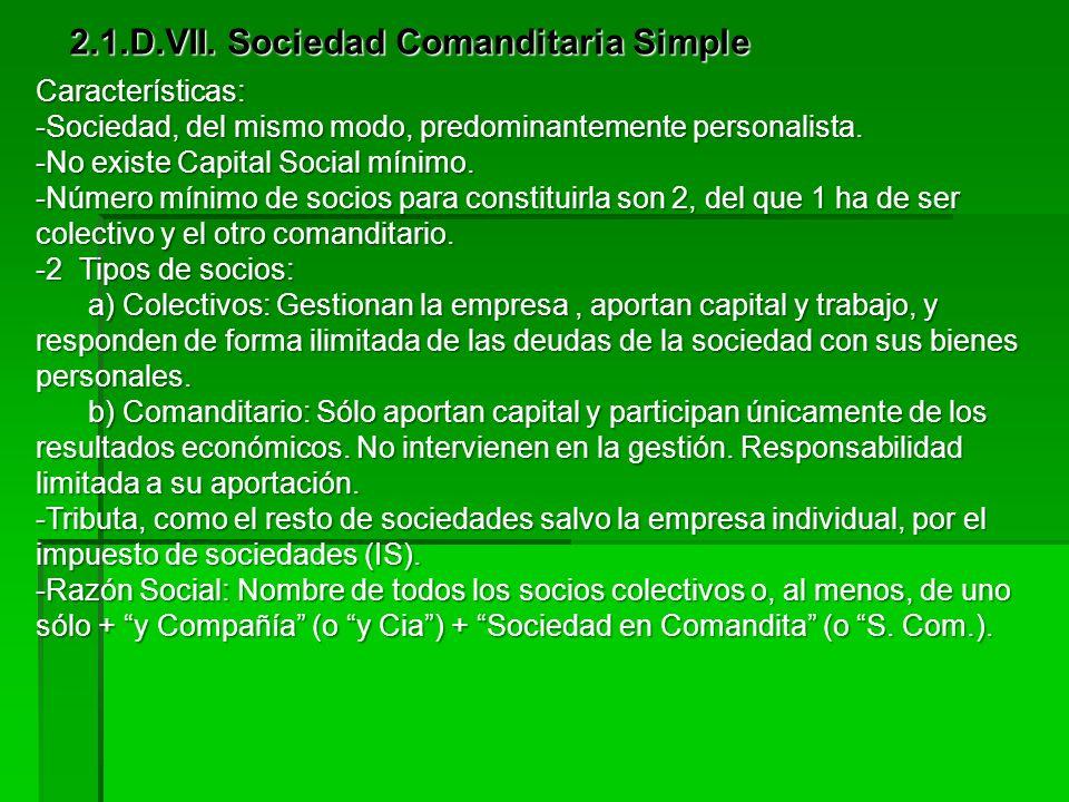 2.1.D.VII. Sociedad Comanditaria Simple