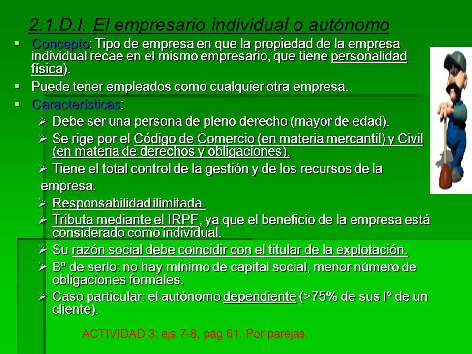 2.1.D.I. El empresario individual o autónomo
