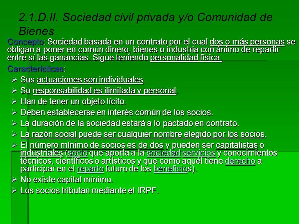 2.1.D.II. Sociedad civil privada y/o Comunidad de Bienes