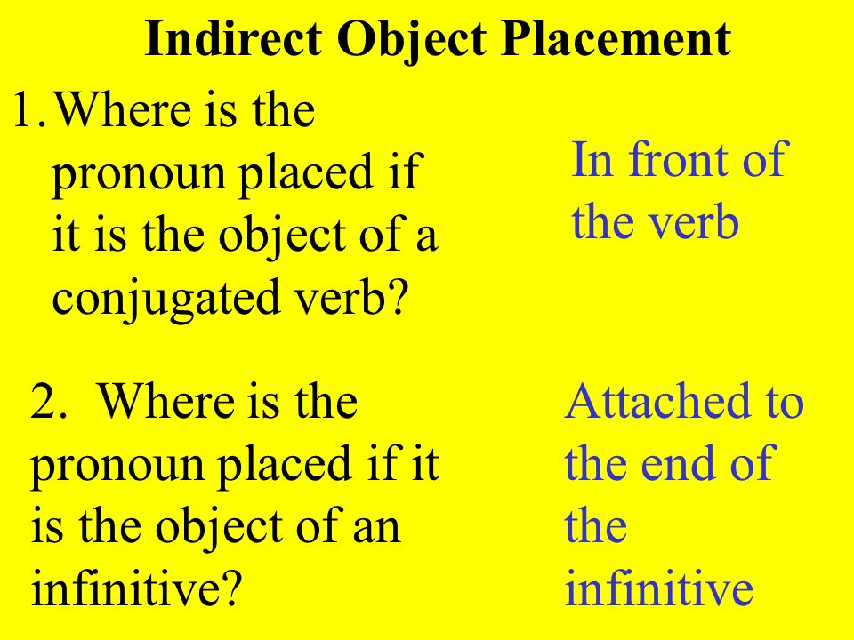 Indirect Object Placement