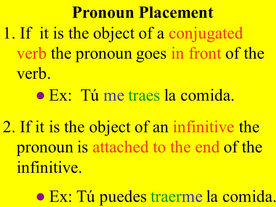 Pronoun Placement1. If it is the object of a conjugated verb the pronoun goes in front of the verb.