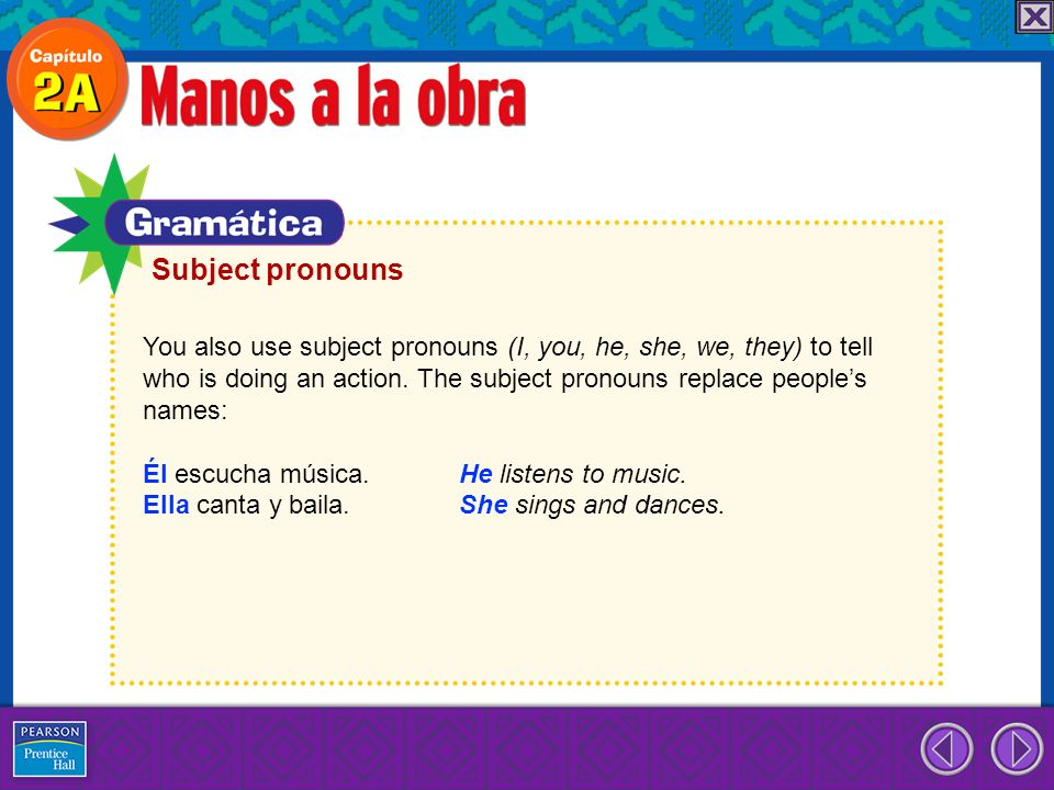 Subject pronouns You also use subject pronouns (I, you, he, she, we, they) to tell.