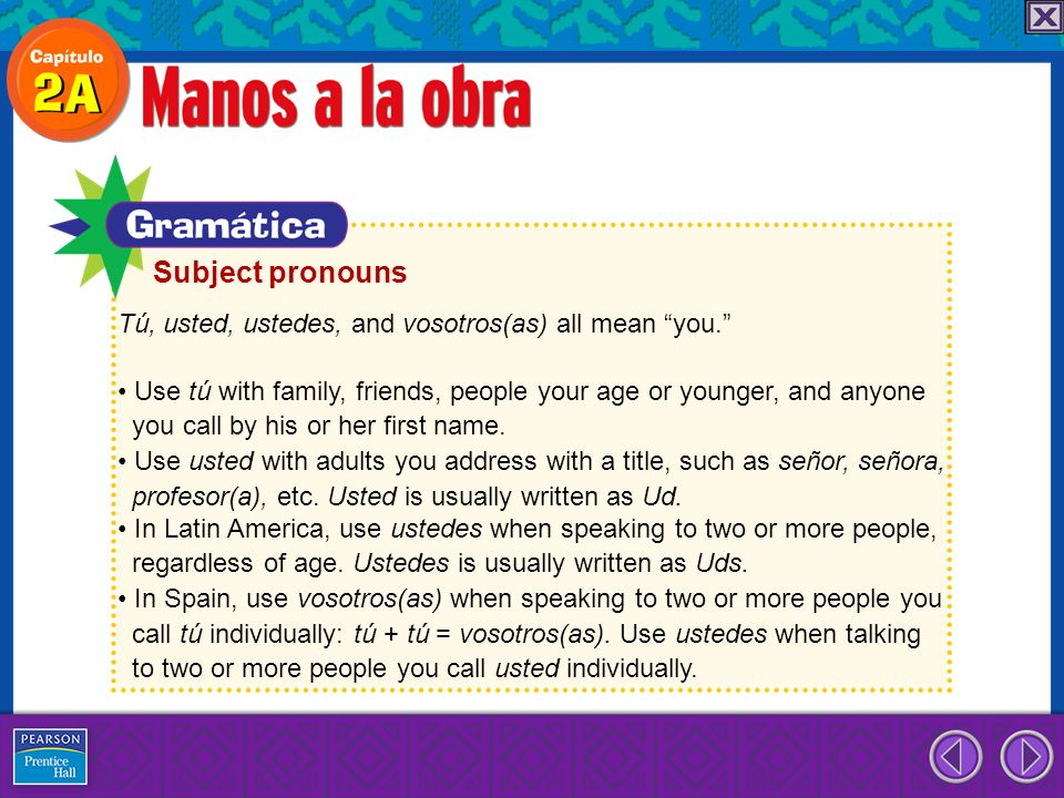 Subject pronouns Tú, usted, ustedes, and vosotros(as) all mean you.