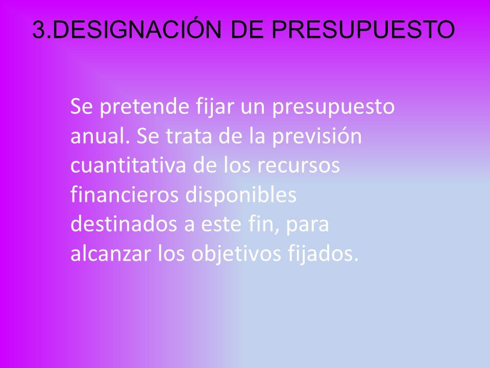 3.DESIGNACIÓN DE PRESUPUESTO