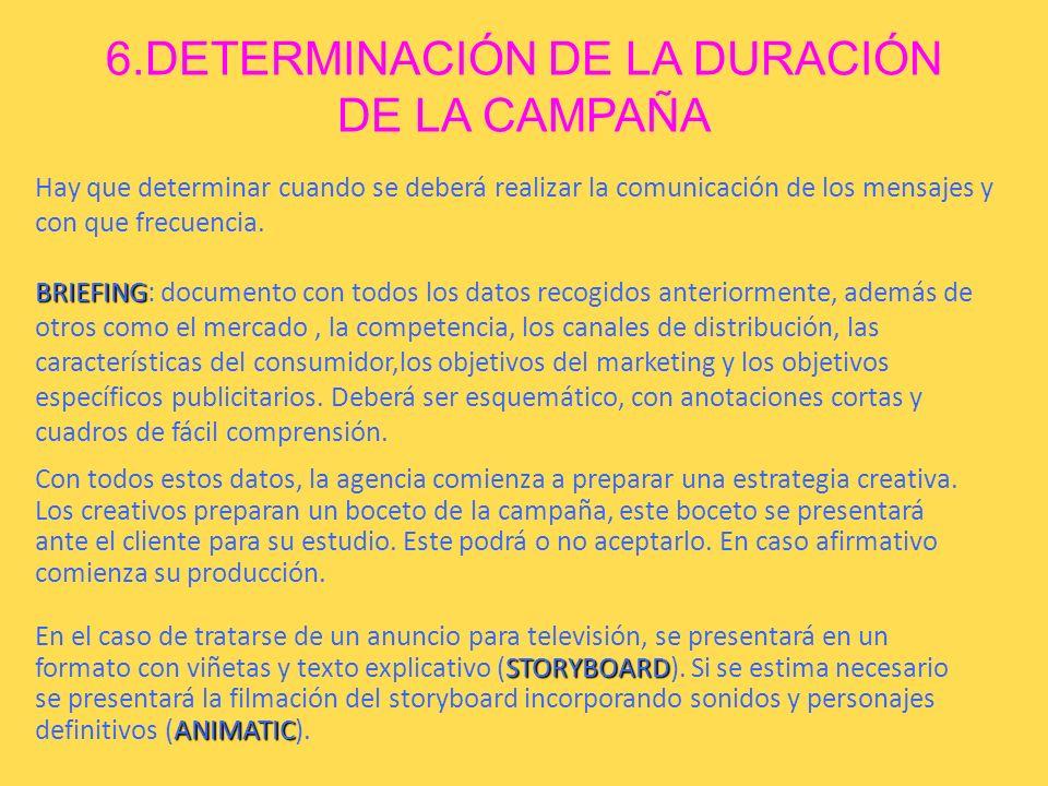 6.DETERMINACIÓN DE LA DURACIÓN DE LA CAMPAÑA