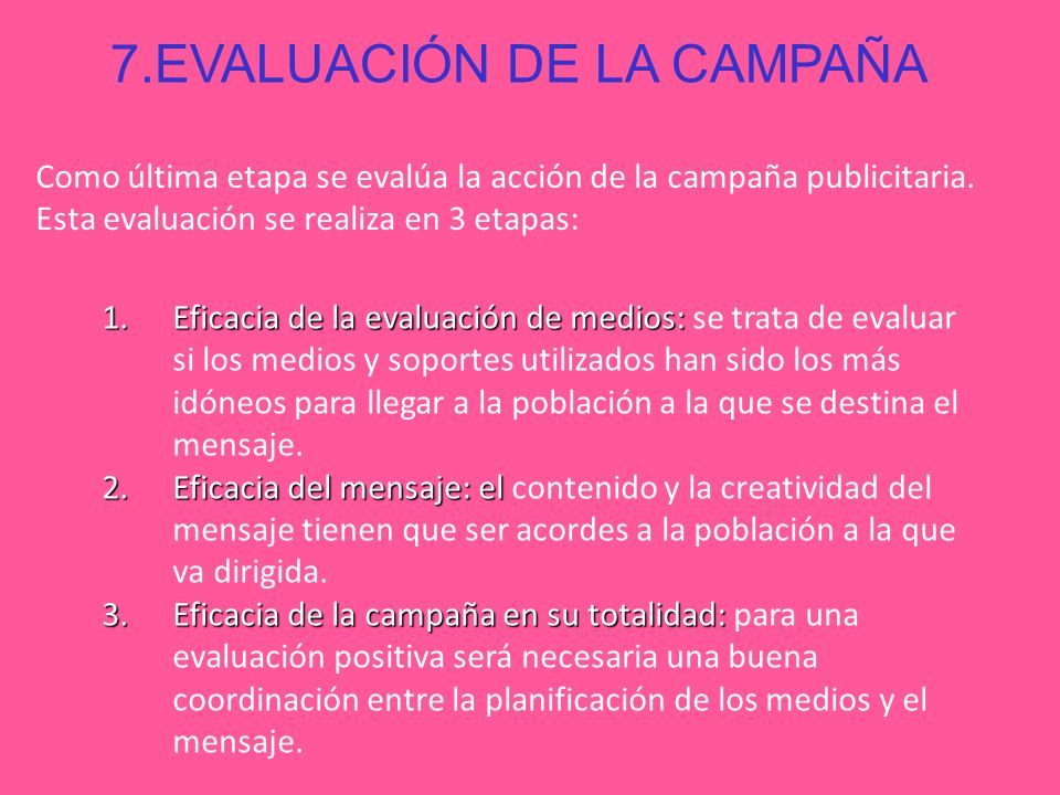 7.EVALUACIÓN DE LA CAMPAÑA