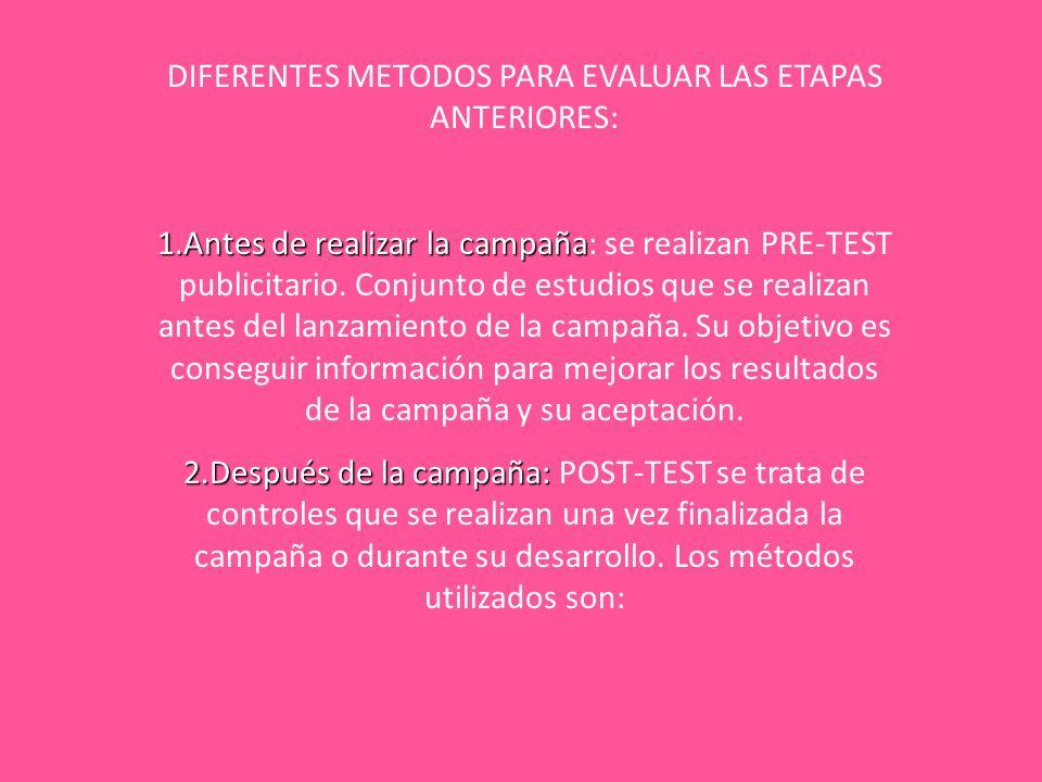 DIFERENTES METODOS PARA EVALUAR LAS ETAPAS ANTERIORES: