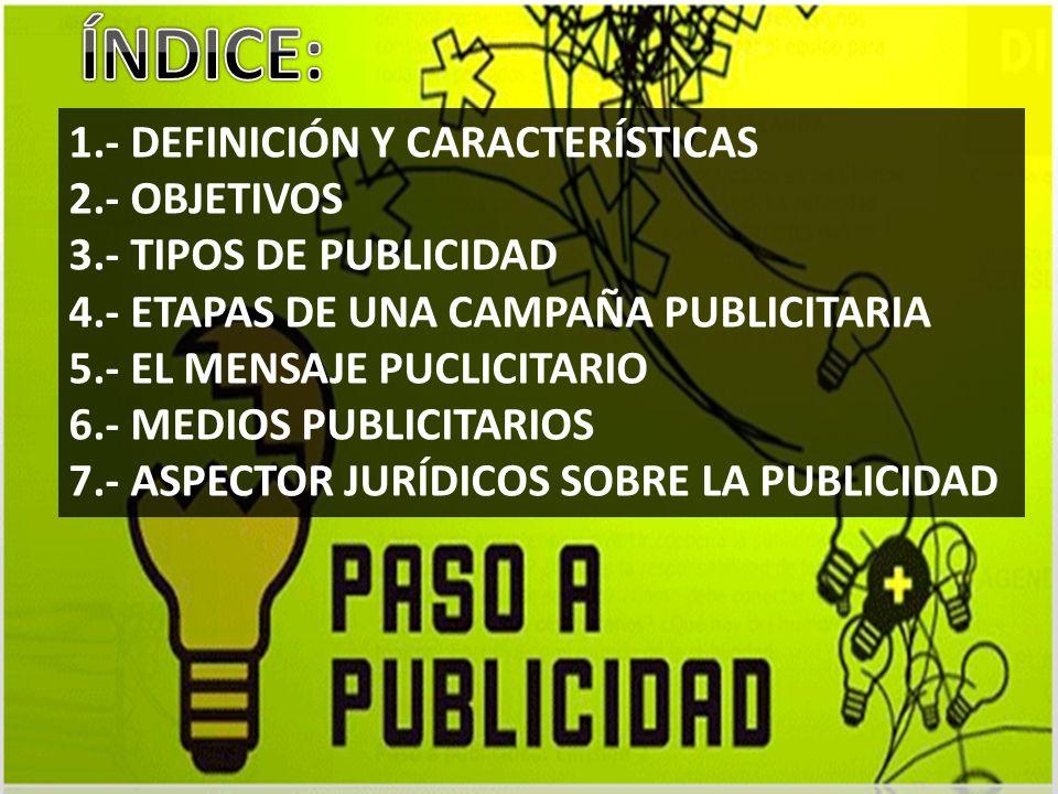 ÍNDICE: 1.- DEFINICIÓN Y CARACTERÍSTICAS 2.- OBJETIVOS
