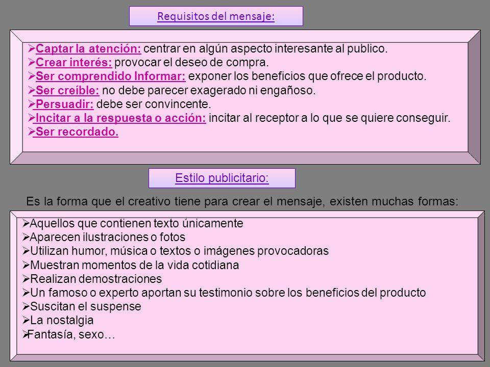 Requisitos del mensaje: