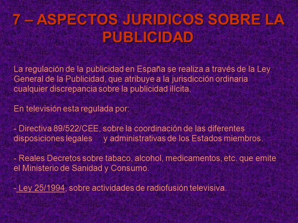 7 – ASPECTOS JURIDICOS SOBRE LA PUBLICIDAD