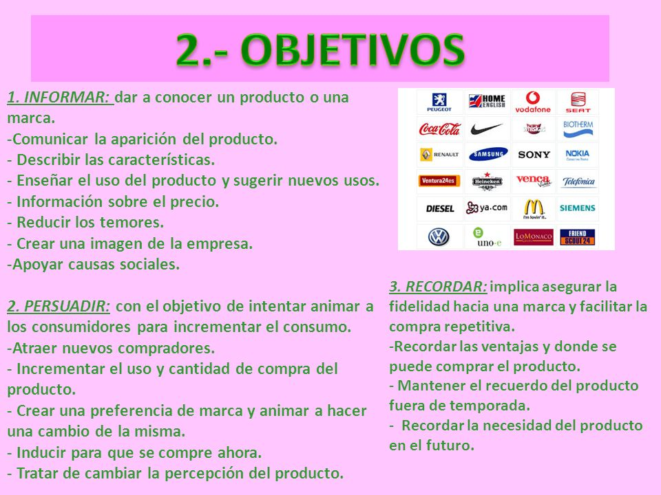 2.- OBJETIVOS 1. INFORMAR: dar a conocer un producto o una marca.