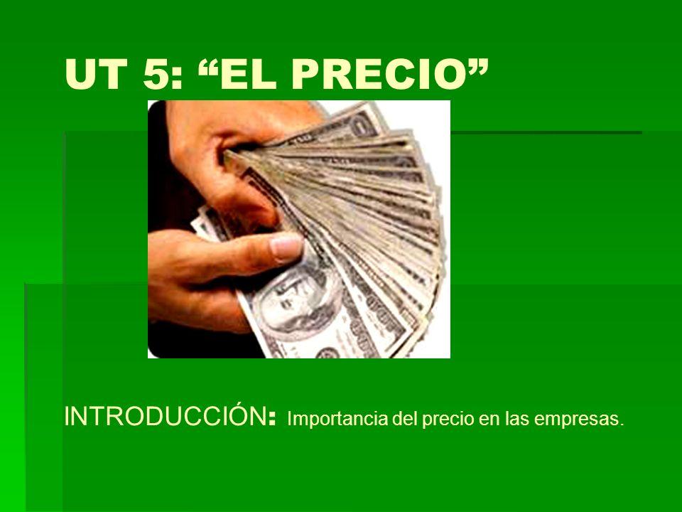 UT 5: EL PRECIO INTRODUCCIÓN: Importancia del precio en las empresas.