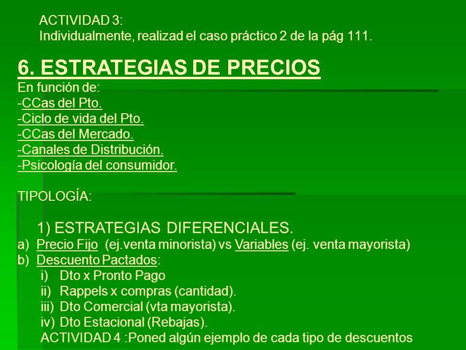 6. ESTRATEGIAS DE PRECIOS