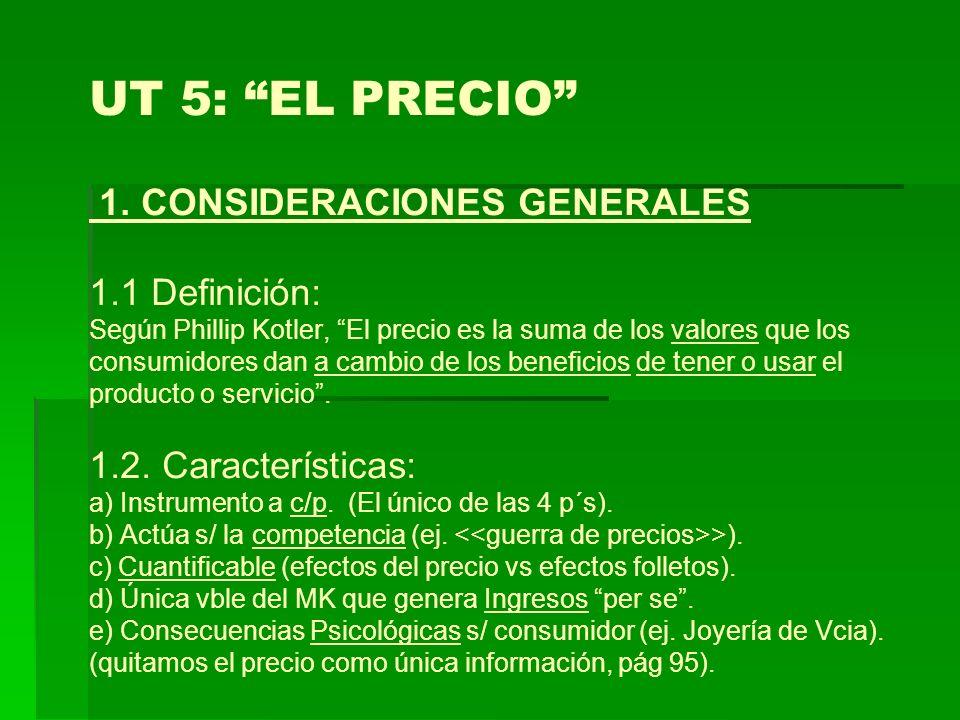 UT 5: EL PRECIO 1. CONSIDERACIONES GENERALES 1