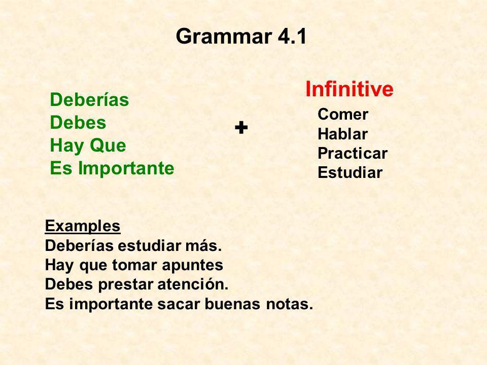 + Grammar 4.1 Infinitive Deberías Debes Hay Que Es Importante Comer