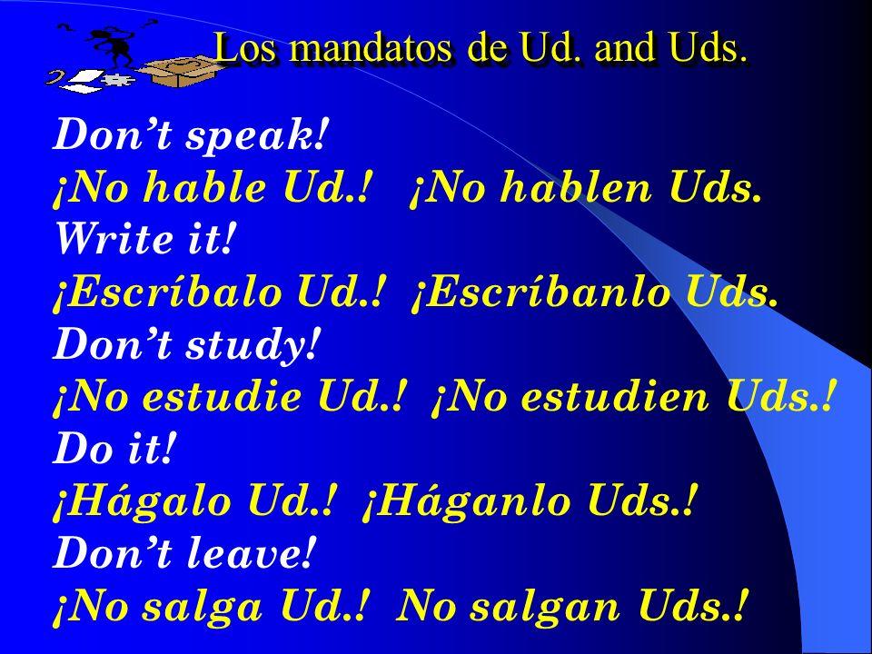 Los mandatos de Ud. and Uds.