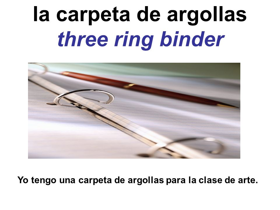 la carpeta de argollas three ring binder