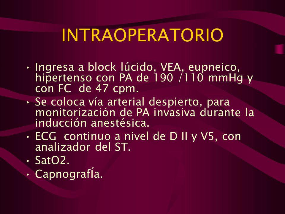 INTRAOPERATORIOIngresa a block lúcido, VEA, eupneico, hipertenso con PA de 190 /110 mmHg y con FC de 47 cpm.
