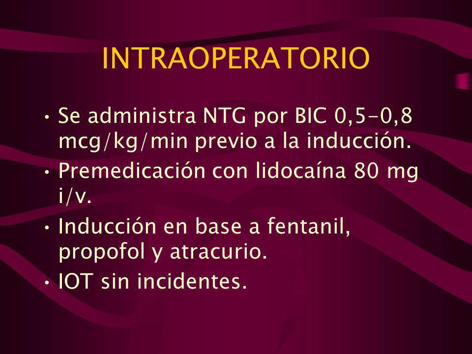 INTRAOPERATORIO Se administra NTG por BIC 0,5-0,8 mcg/kg/min previo a la inducción. Premedicación con lidocaína 80 mg i/v.