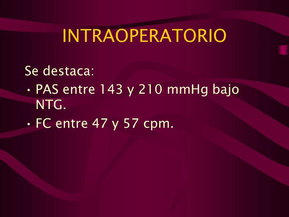 INTRAOPERATORIO Se destaca: PAS entre 143 y 210 mmHg bajo NTG.
