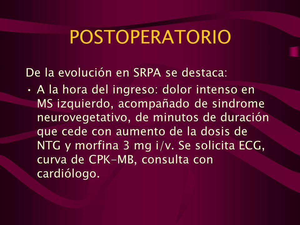 POSTOPERATORIO De la evolución en SRPA se destaca: