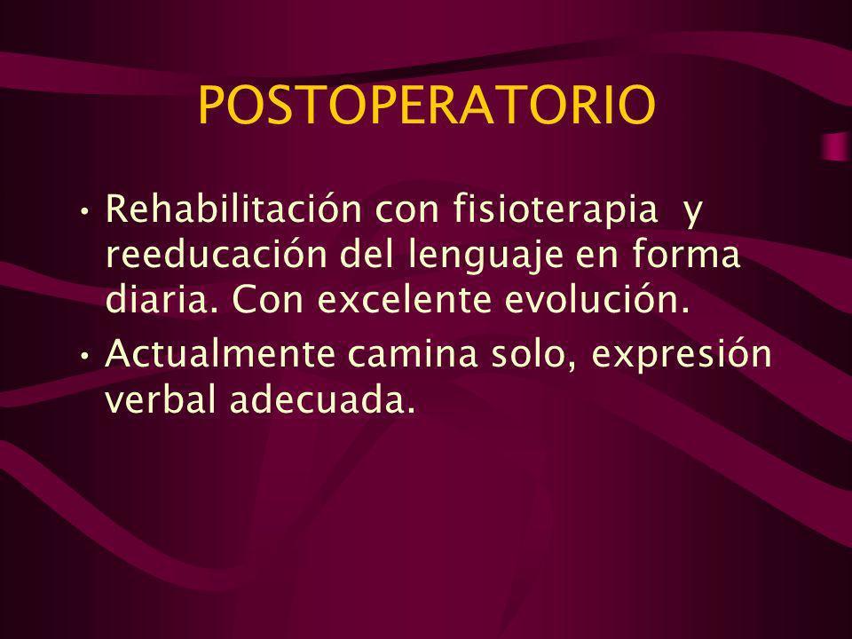 POSTOPERATORIO Rehabilitación con fisioterapia y reeducación del lenguaje en forma diaria. Con excelente evolución.