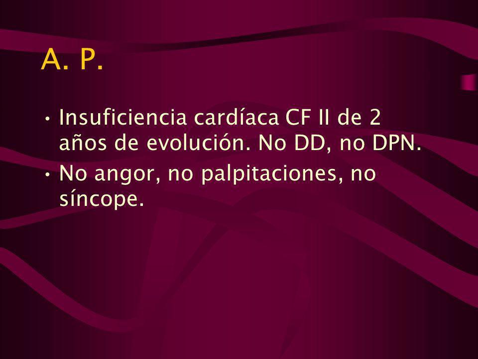 A. P. Insuficiencia cardíaca CF II de 2 años de evolución.
