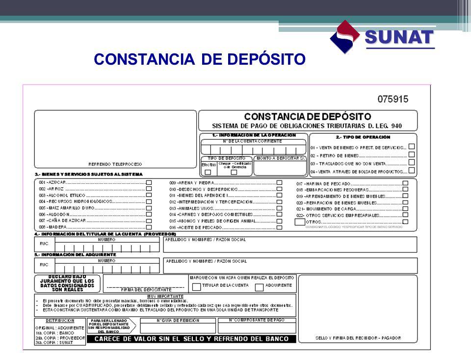 SUNAT CONSTANCIA DE DEPÓSITO