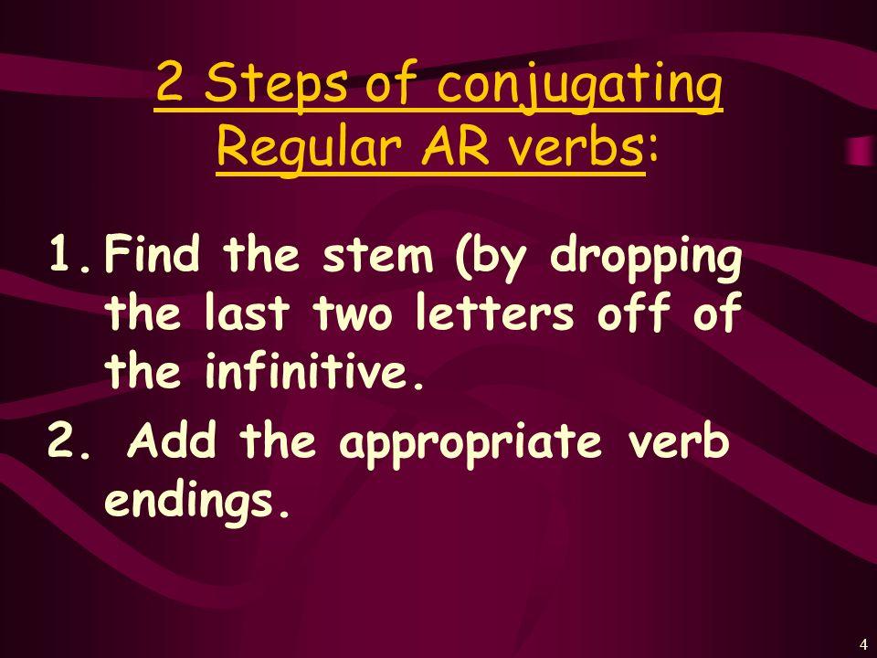2 Steps of conjugating Regular AR verbs: