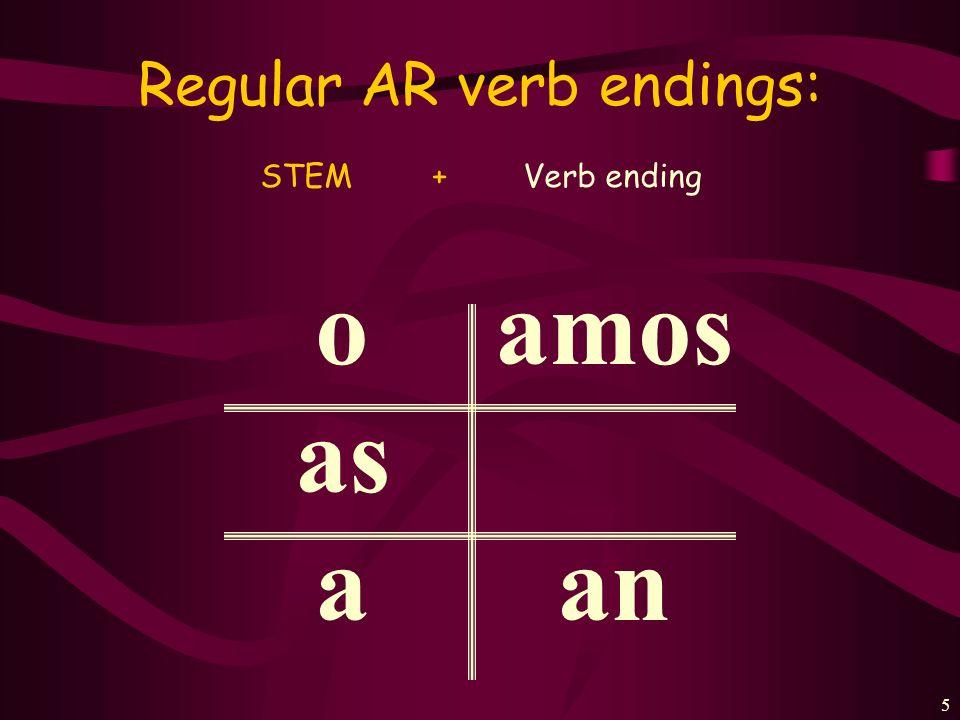 Regular AR verb endings:
