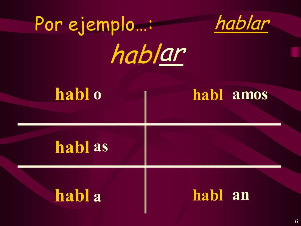 Por ejemplo…: hablar ar habl habl o as a amos an