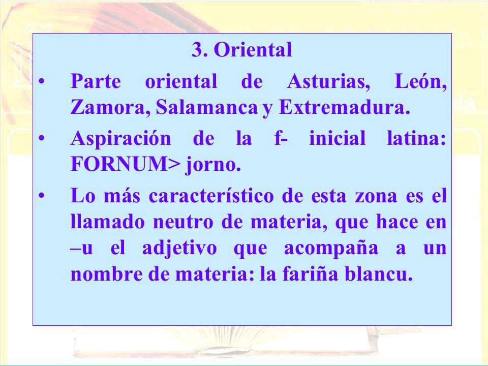 3. Oriental Parte oriental de Asturias, León, Zamora, Salamanca y Extremadura. Aspiración de la f- inicial latina: FORNUM> jorno.