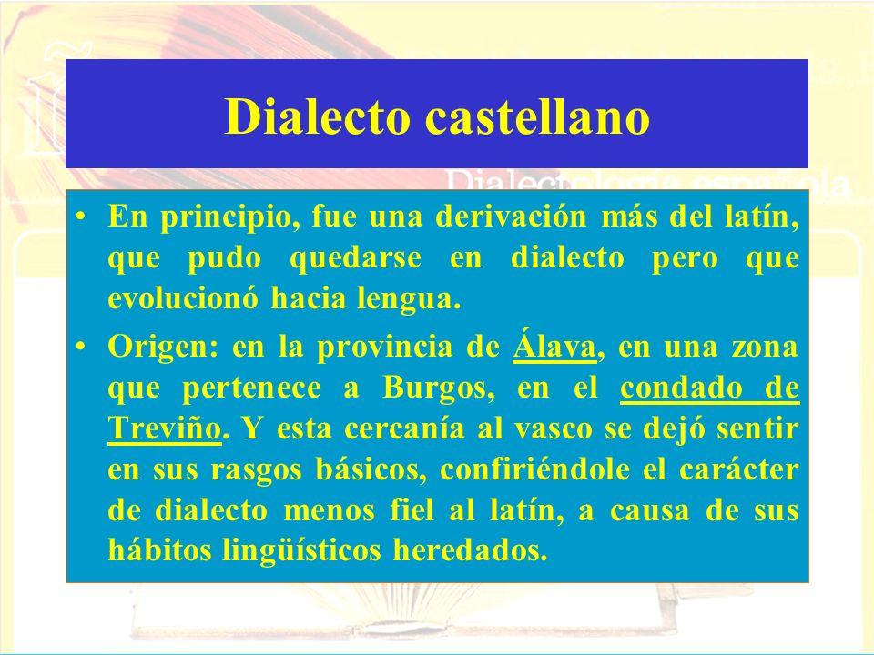 Dialecto castellanoEn principio, fue una derivación más del latín, que pudo quedarse en dialecto pero que evolucionó hacia lengua.