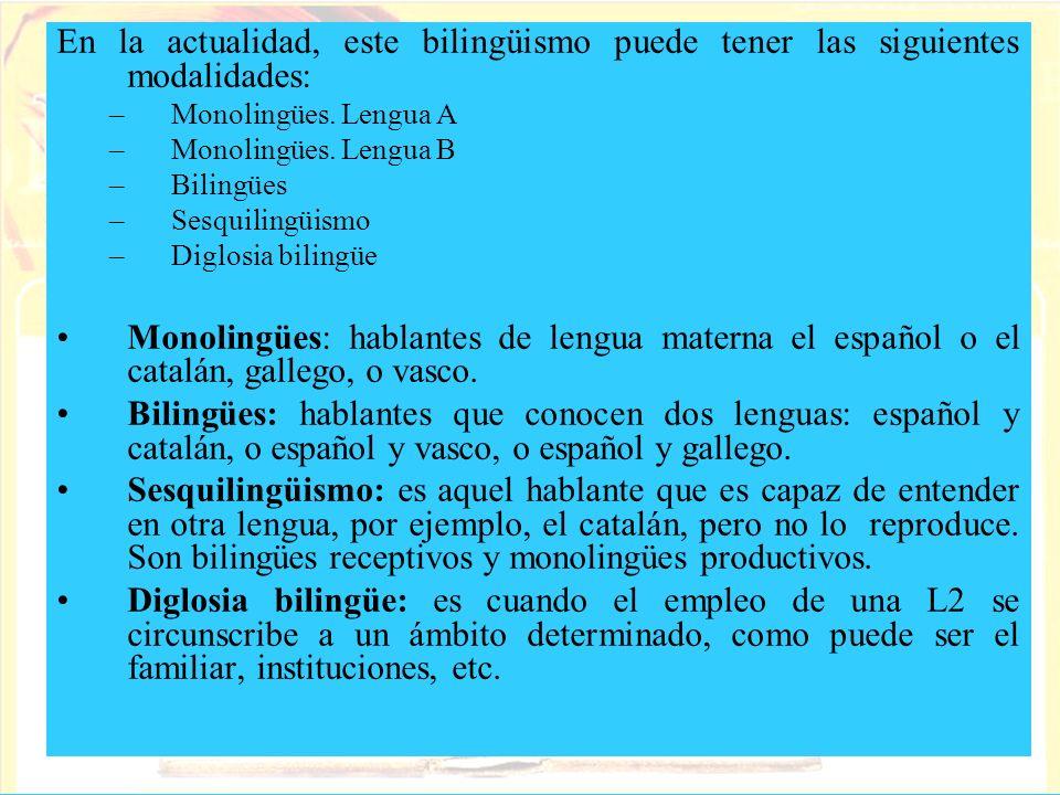 En la actualidad, este bilingüismo puede tener las siguientes modalidades: