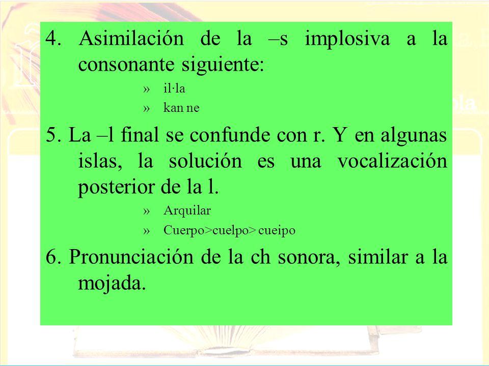 4. Asimilación de la –s implosiva a la consonante siguiente: