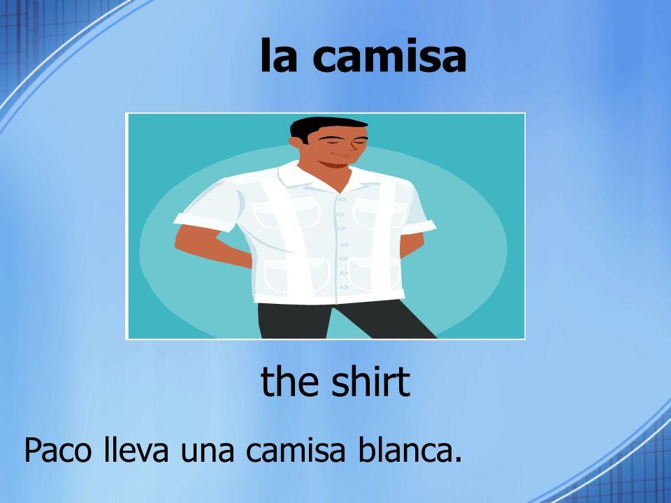 la camisa the shirt Paco lleva una camisa blanca.